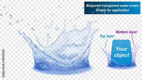 Obraz Translucent water splash crown consist of two layers: top and bottom. In blue colors, isolated on transparent background. Transparency only in vector file - fototapety do salonu