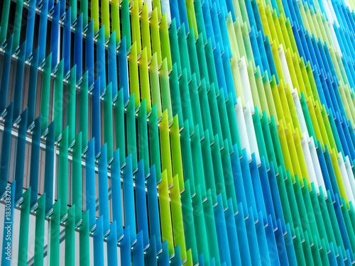 Fotografie, Obraz  acrylic plastic sheet interior, text A design on right corner, blue aqua yellow
