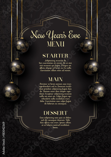 Fotografie, Obraz  Luxurious elegant New Year's Eve menu design