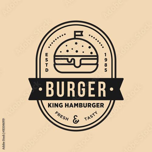 Vintage burger king shop vector logo illustration emblem