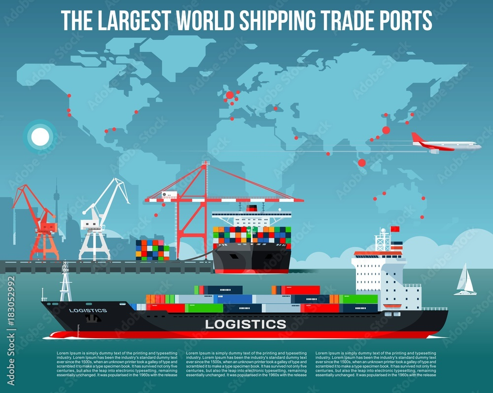 Fototapeta Cargo sea port with cargo freight ships & harbour port cranes also city, flying jet in the sky & world map on background infographics
