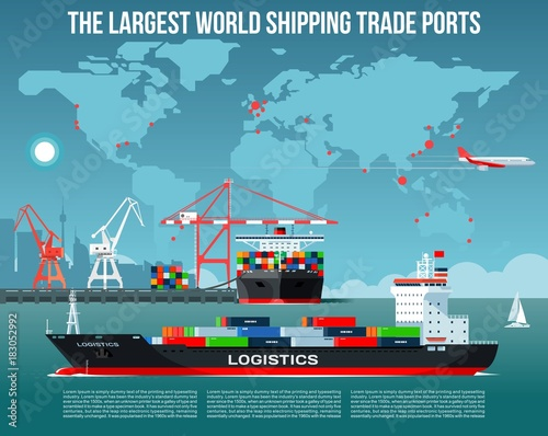 Cargo sea port with cargo freight ships & harbour port cranes also city, flying jet in the sky & world map on background infographics Wall mural