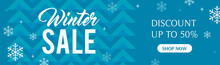 Winter Sale Banner Vector Illustration, Snowflakes On Abstract Blue Pattern Background