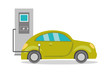 Cartoon electric car on recharging,
