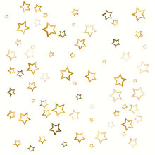 Gold Star Background On White. Golden Abstract Decoration Vector.