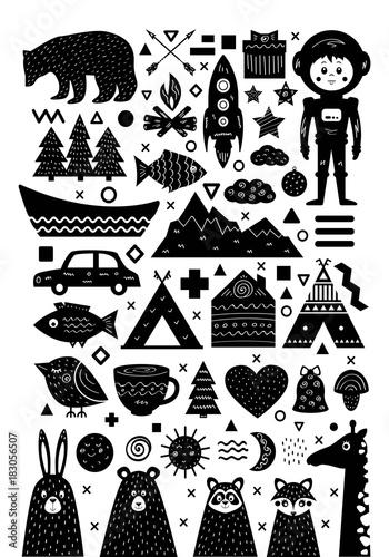 Monochrome set of elements in Scandinavian style Canvas Print