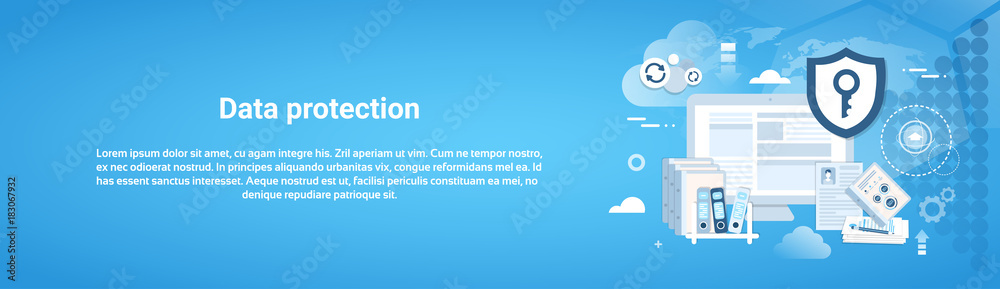 Fototapeta Data Protection Horizontal Web Banner With Copy Space Vector Illustration