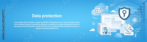 Fototapeta Data Protection Horizontal Web Banner With Copy Space Vector Illustration obraz