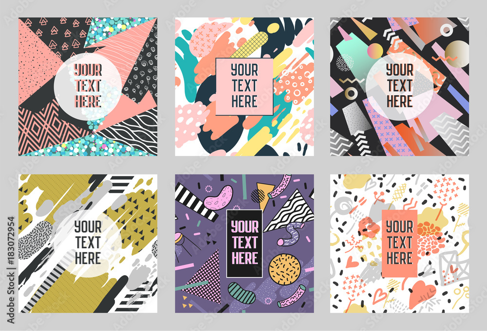 Fototapeta Memphis Abstract Posters Set with Geometric Shapes and Hand Drawn Brushes. Hipster Trendy Banners, Templates, Cover. 80 - 90s Fashion Cards. Vector illustration