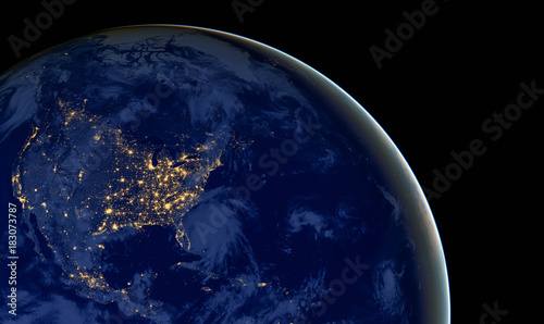 Deurstickers Nasa United States of America lights during night as it looks like from space. Elements of this image are furnished by NASA
