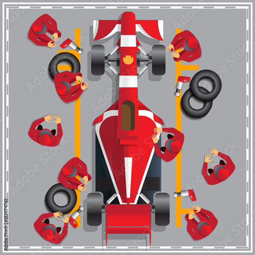 Aluminium Prints F1 Maintenance of a racing car. View from above. Vector illustration.