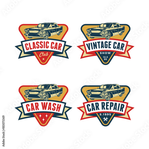Set of Colored Old Retro Style Vintage Classic Car Vector Logo