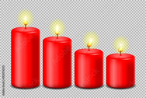 Foto Advent Kerze rot Adventszeit isoliert mit Flamme