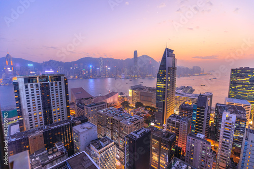 Spoed Foto op Canvas Hong-Kong Spectacular aerial view of Victoria Harbor, skyscrapers and Hong Kong skyline at night.