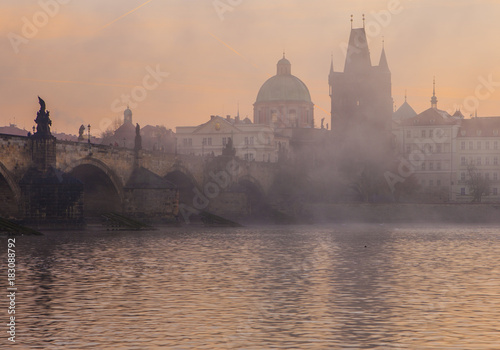 Aluminium Prints Delhi Beautiful morning in Prague. Charles Bridge and Vltava River at dawn