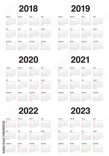 Year 2018 2019 2020 2021 2022 2023 calendar vector Poster