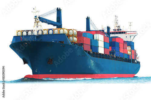 Fotomural ship on white background with container isolate for logistic transportation concept