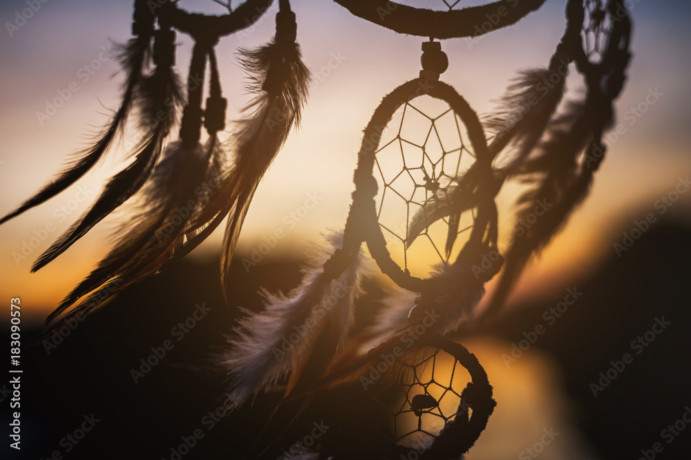 Fototapety, obrazy: Dream catcher in the wind with beautiful sunset