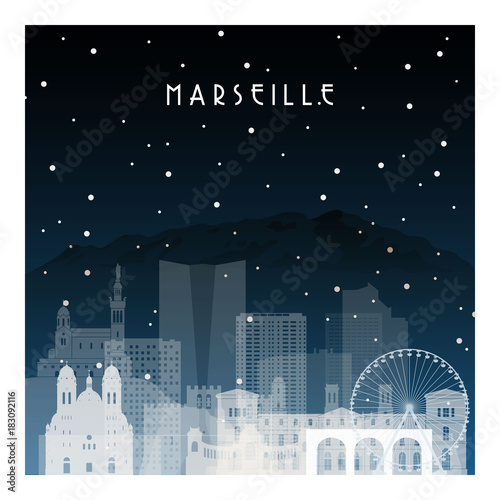 Winter night in Marseille. Night city in flat style for banner, poster, illustration, game, background.