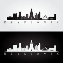 Reykjavik Skyline And Landmarks Silhouette, Black And White Design, Vector Illustration.