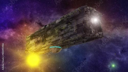 фотография  3D rendering. Futuristic alien Spaceship