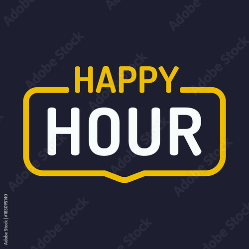 Obraz na płótnie Happy hour. Vector badge illustration on dark background.