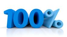 100 Percent Blue Symbol Isolat...