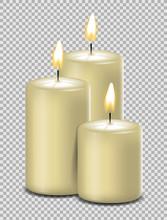 Kerzen Weiß Mit Flamme Advent...