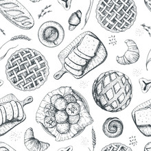 Bakery Seamless Pattern. Hand Drawn Food Vector Illustration. Vintage Background With Bread, Toast, Pie, Buns Aand Croissant. Engraved Style.