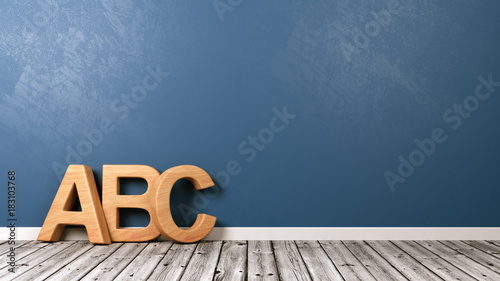 ABC Letters on Wooden Floor Canvas Print