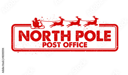 Photo North Pole Post Office rubber stamp vector