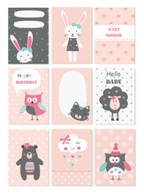 Set Of Baby Cards With Cute An...