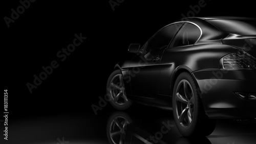 Fotobehang Vintage cars Dark car silhouette 3D illustration