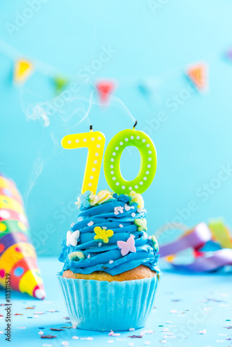 Seventieth 70th Birthday Cupcake With Candle Blow OutCard Mockup