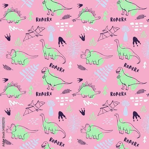 Seamless Pattern With Cute Dinosaurs For Children Textile Wallpaper Posters And Other Design