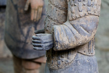 Detail Of The Hand Of A Terracotta Warrior From Xian, China.