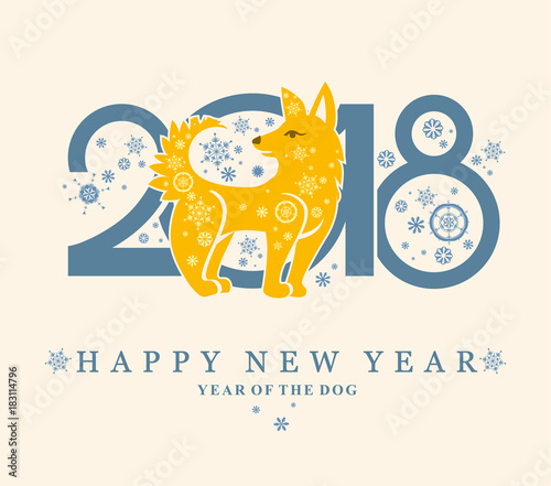 Cute card with a Yellow Dog in circle. New Year\'s design. 2018 - Buy ...
