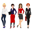 Vector illustration of four elegant business women in different poses on white background in flat cartoon style.
