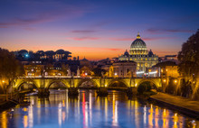 Rome Skyline At Sunset As Seen...
