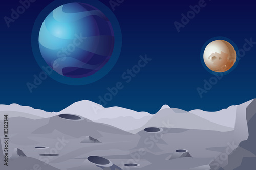 Aluminium Prints Dark grey Vector illustration of Lunar landscape with craters. Beautiful planets on background.
