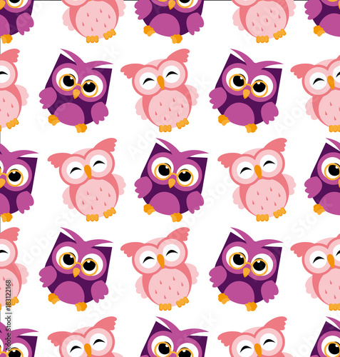 Cotton fabric Vector illustration of colorful owl pattern on white background. Happy and joyful cartoon birds in flat style.
