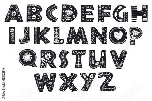 Valokuvatapetti decorative alphabet in Scandinavian style color black and white - vector illustr