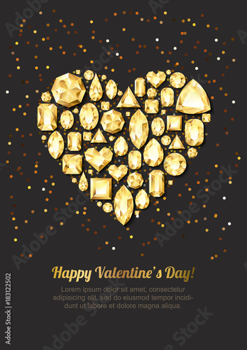 Valentines Day Vector Greeting Card Gold Gem Heart On Black