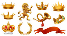 Gold Crown Of The King. Laurel Wreath, Trumpet, Lion, Ribbon. 3d Vector Icon Set
