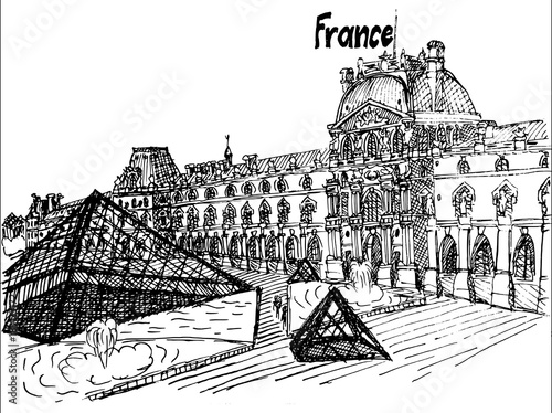 Fotografie, Obraz  France Louvre black and white sketch vector artwork
