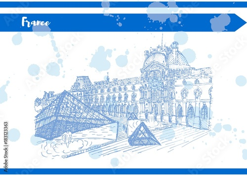 Photo Blue France Louvre black and white sketch vector artwork