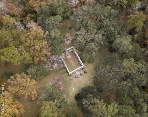 Fotografie, Obraz  Aerial view of Old Sheldon Church ruin in South Carolina
