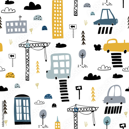 Staande foto Cartoon cars Seamless pattern with hand drawn city print. Cartoon skyscraper, cars, road sign,zebra crossing vector illustration.Perfect for kids fabric,textile,nursery wallpaper