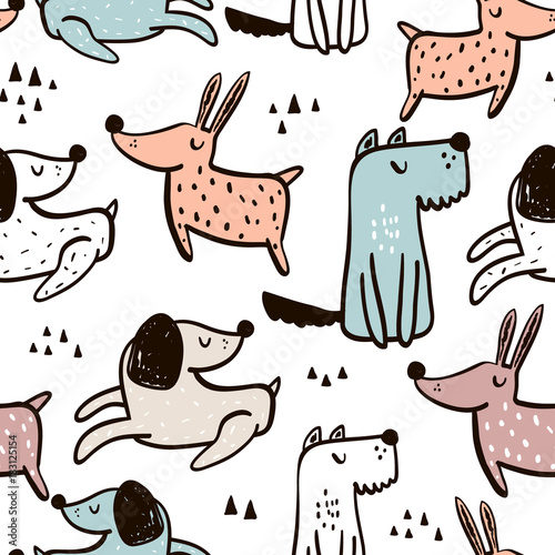 obraz lub plakat Childish seamless pattern with hand drawn dogs. Trendy scandinavian vector background. Perfect for kids apparel,fabric, textile, nursery decoration,wrapping paper