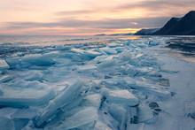 Sunset On Frozen Baikal Lake. Siberia.